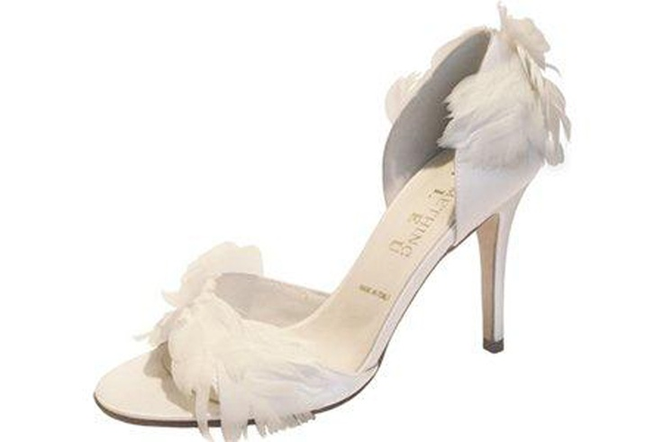 Canary by Something Bleu  Heel height 8cm. Diamond white silk. Made in Italy.
