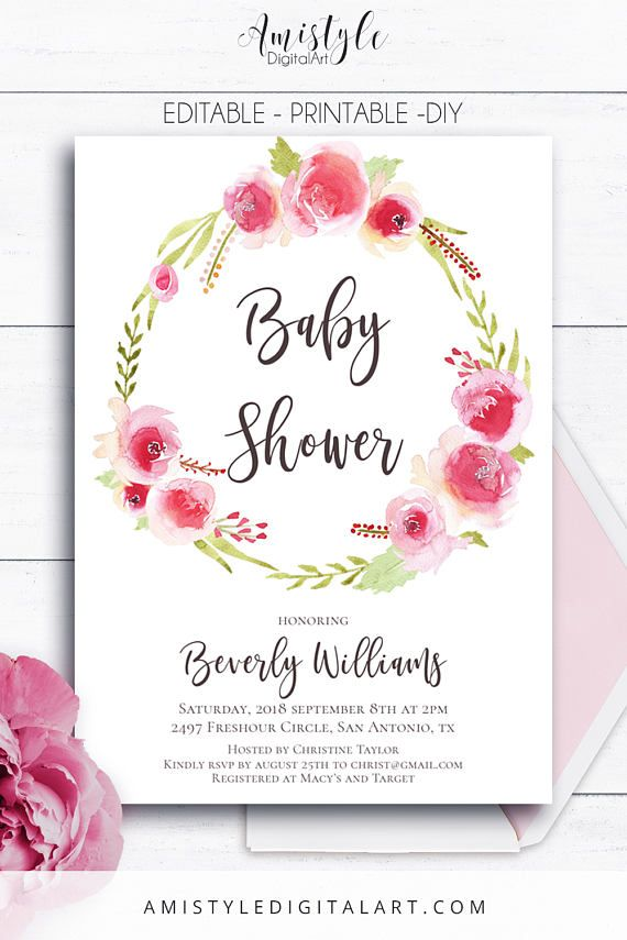 Baby Shower, Printable Invitation - with beautiful and cute watercolor rose floral wreath by Amistyle Digital Art on Etsy