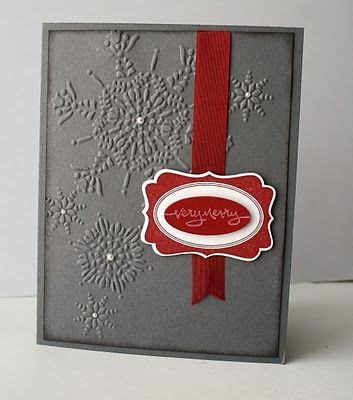 Textured Impressions Embossing Folder, Northern Flurries, Stampin' Up!: Christmas Cards, Stampin Up, Embossed Snowflake, Card Ideas, Simple Snowflake