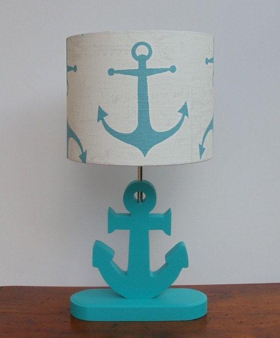 Handmade Anchor/Nautical Theme Drum Lamp Shade by PerrelleDesigns, $40.00