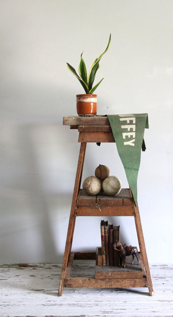 vintage tiered wood shelf / industrial standing by wretchedshekels, www.etsy.com/shop/wretchedshekels