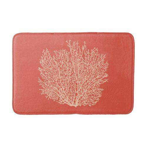 Fan Coral Print, Peach on Deep Coral Orange Bath Mat