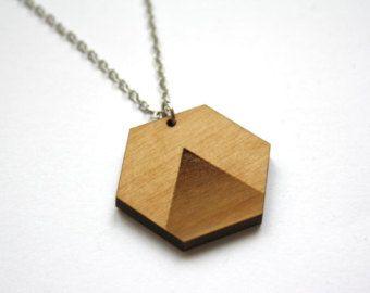 Collier géométric - wood geometric collar ateliermumu.etsy.com