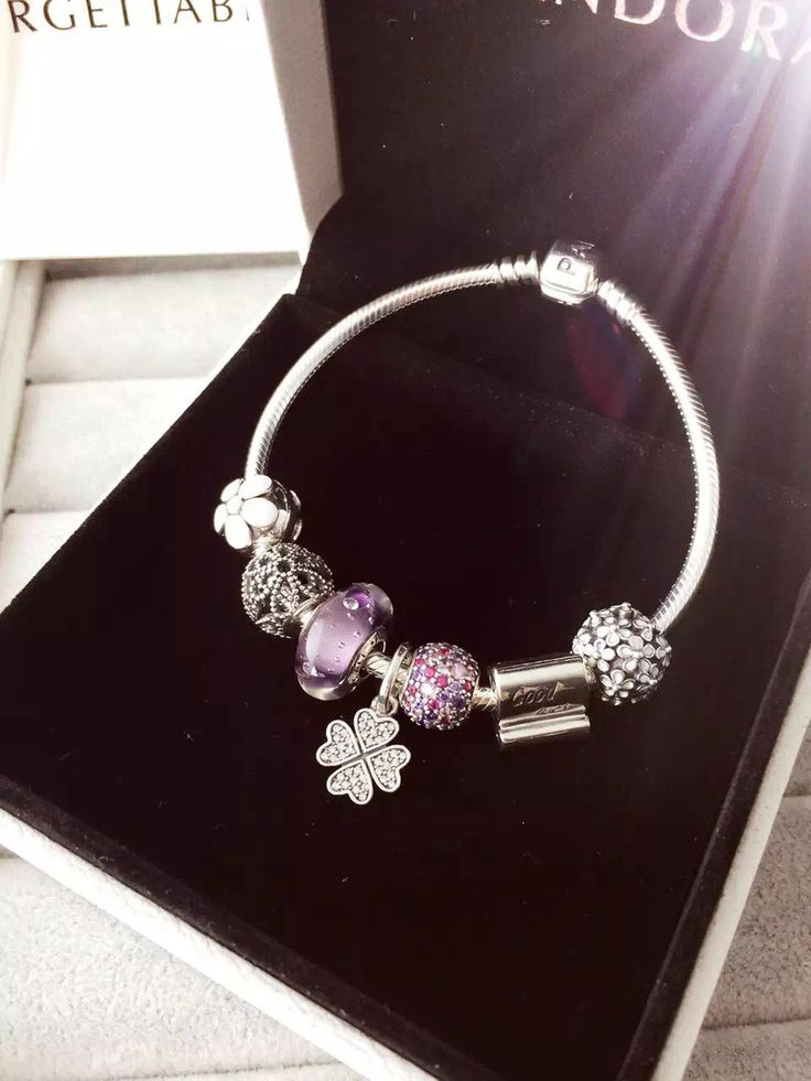 199 pandora charm bracelet purple white flower hot sale - Pandora Bracelet Design Ideas