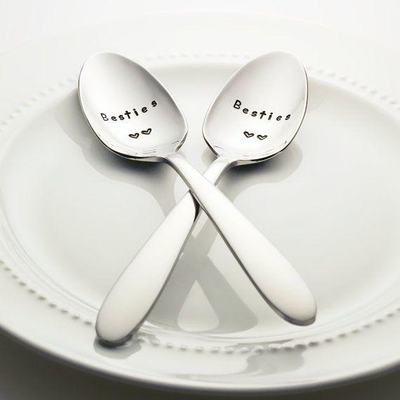 Besties (double heart) stainless steel stamped spoon set by BonVivantDesignHouse
