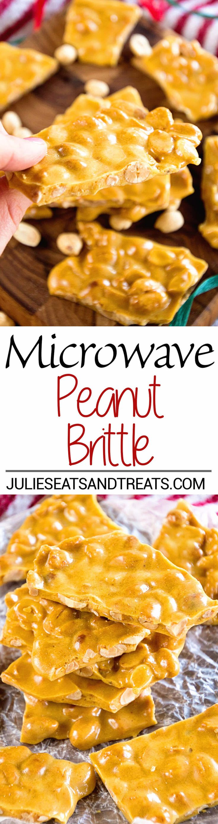 Microwave Peanut Brittle Recipe ~ Quick and Easy Christmas Treat that's Made in your Microwave! This Sweet is perfect for Goodie Trays! ~ http://www.julieseatsandtreats.com