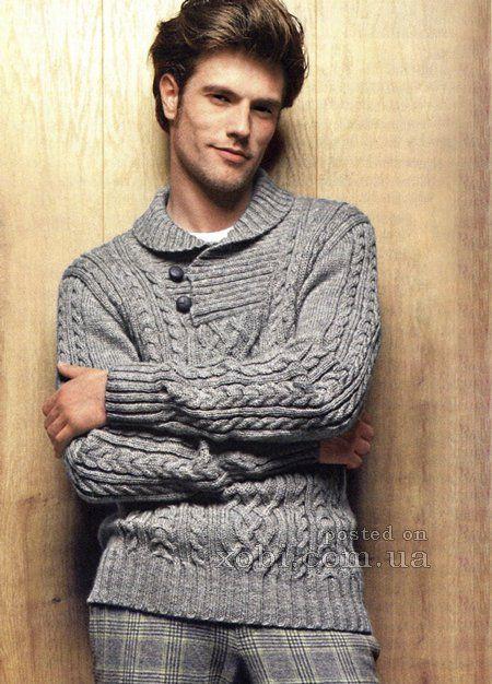 мужской пуловер с воротником поло на пуговицах