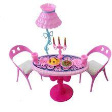 1 satz vintage tisch stühle für puppen möbel ess-sets toys für mädchen kind für rosa für barbie(China (Mainland))