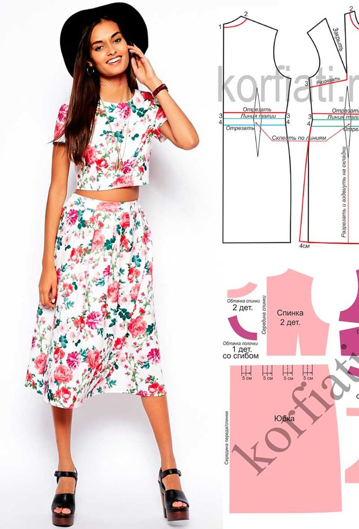 Выкройка летнего костюма. Легкий укороченный топ и юбка со складками из хлопчатобумажной ткани с цветочным принтом - идеальная пара! выкройка моделируется..