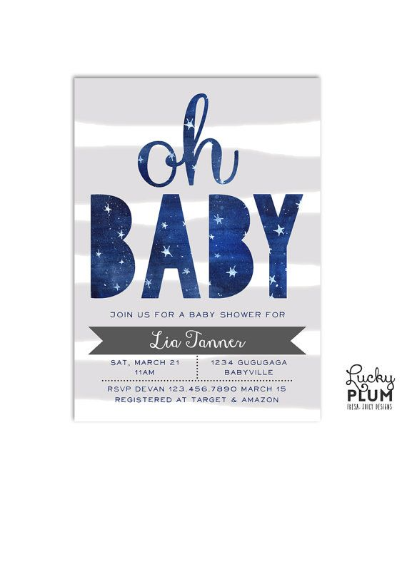 Twinkle Star Baby Shower Invitation Design // Twinkle twinkle little star, what a miracle you are. A cutout of the lovely watercolor night sky with stars against a light grey striped background / by LuckyPlumStudio