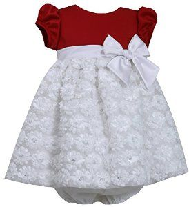 White Bonaz Baby Girl Christmas Dress by Bonnie Baby` Unique Baby Christmas Outfits Here: http://thesimplychicbabyboutique.com/unique-baby-christmas-outfits/