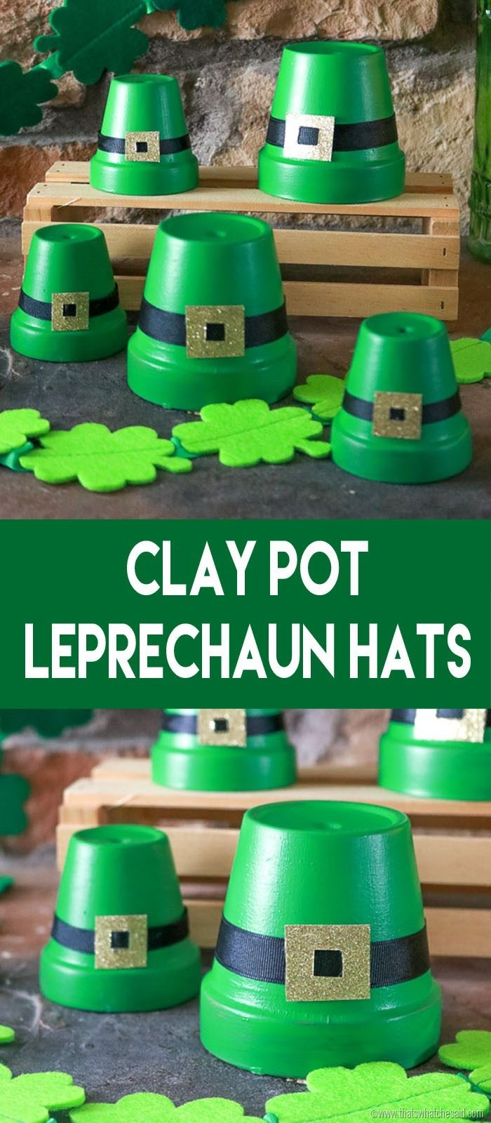 Leprechaun Hats made from clay pots