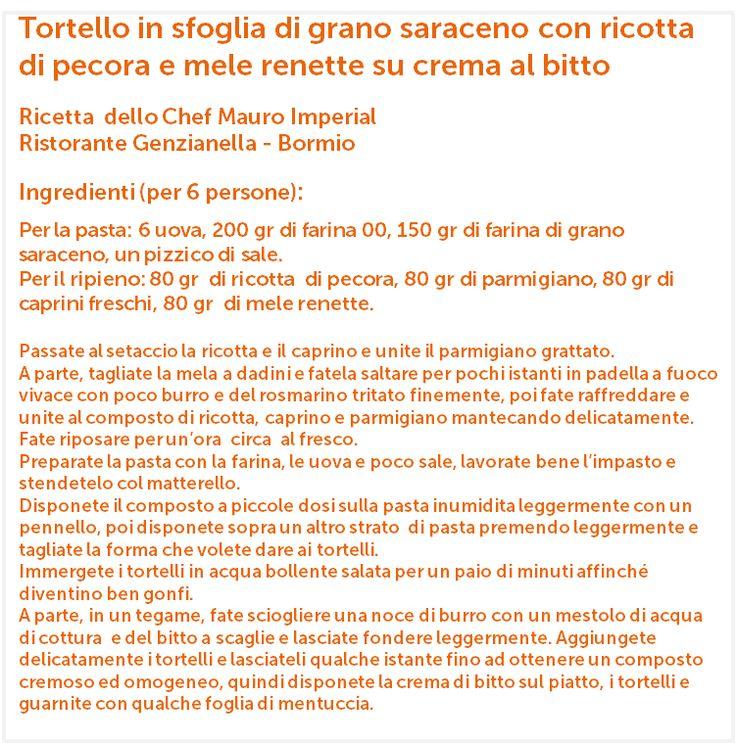 Ricetta dello chef Mauro Imperial - Ristorante Genzianella, Bormio