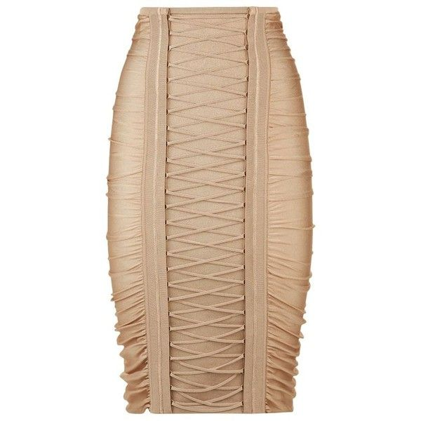 Balmain Ruched Lace-Up Pencil Skirt (£1,260) ❤ liked on Polyvore featuring skirts, bodycon pencil skirt, shirred skirt, zipper skirt, body con skirt and bodycon skirt