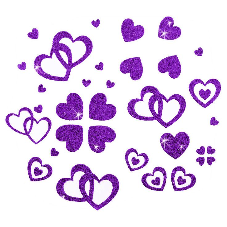 Herz Sticker Set Glitter Glitzernd - lila in Spielspass / Basteln  • Sticker • Herzensticker