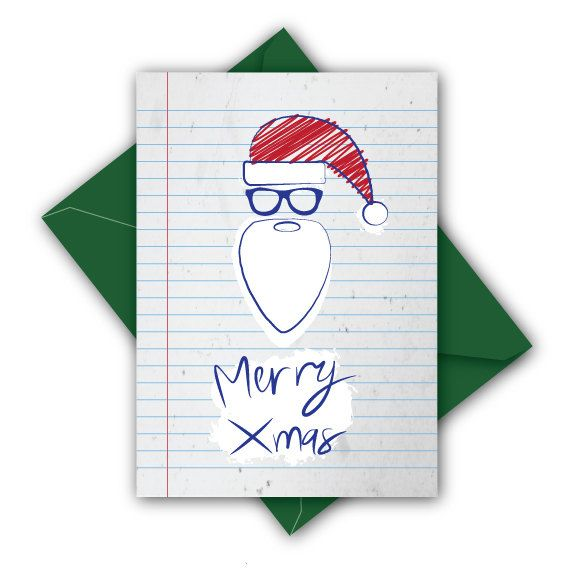 Hipster Santa Christmas Card  Inc. an envelope in by JacobyDesign