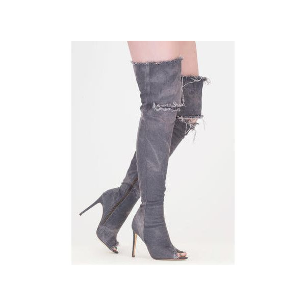 Distress Signal Denim Thigh-High Boots ($70) ❤ liked on Polyvore featuring shoes, boots, grey, over-the-knee boots, grey thigh high boots, stretch thigh high boots, over the knee peep toe boots, peep toe thigh high boots and grey over the knee boots