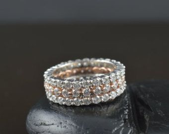 Diamond Stacking Bands Five Stackable by DiamondDoveJewelry