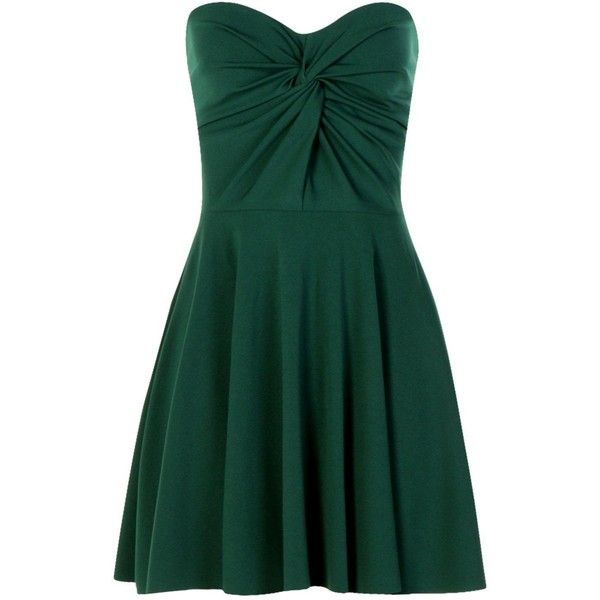 Boohoo Petite Tiffany Bandeau Knot Front Skater Dress ($19) ❤ liked on Polyvore featuring dresses, boohoo dresses, green bandeau dress, petite dresses, petite skater dress and knot front dress