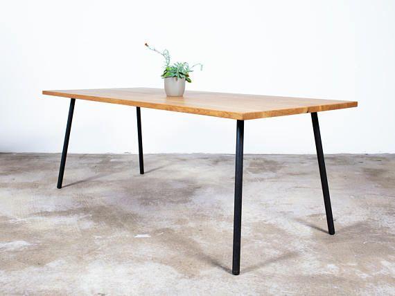 Dark Wood Table Large Old Oak Dining Table Rod Steel Legs Modern Industrial Handcrafted Sustainably Sourced Bespoke Furniture Esstisch Eiche Holztisch Gross Grosser Esstisch