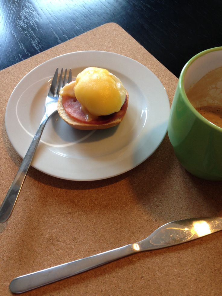 Poached eggs with Canadian bacon and Gouda cheese.