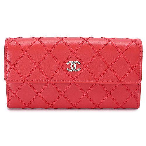シャネル 長財布 CHANEL 財布 二つ折りフラップ ココマーク キルティング レザー レッド A80142 RED