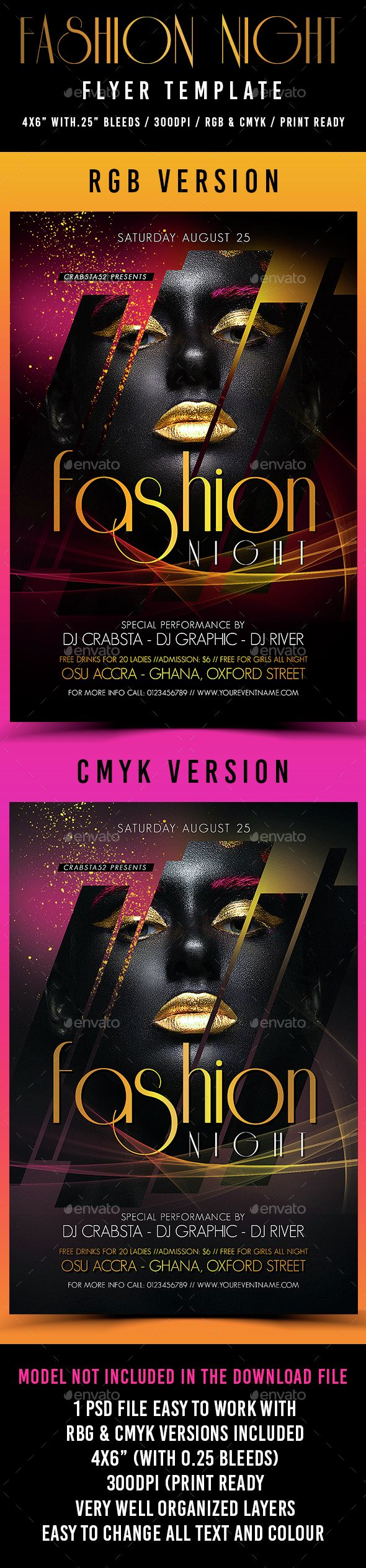 Fashion Night Flyer Template PSD. Download here: http://graphicriver.net/item/fashion-night-flyer-template/15263967?ref=ksioks
