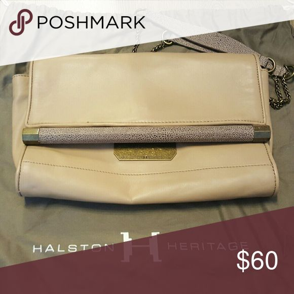 Halston Heritage beige clutch w texture strap Lightly used, no defects Halston Heritage Bags Clutches & Wristlets