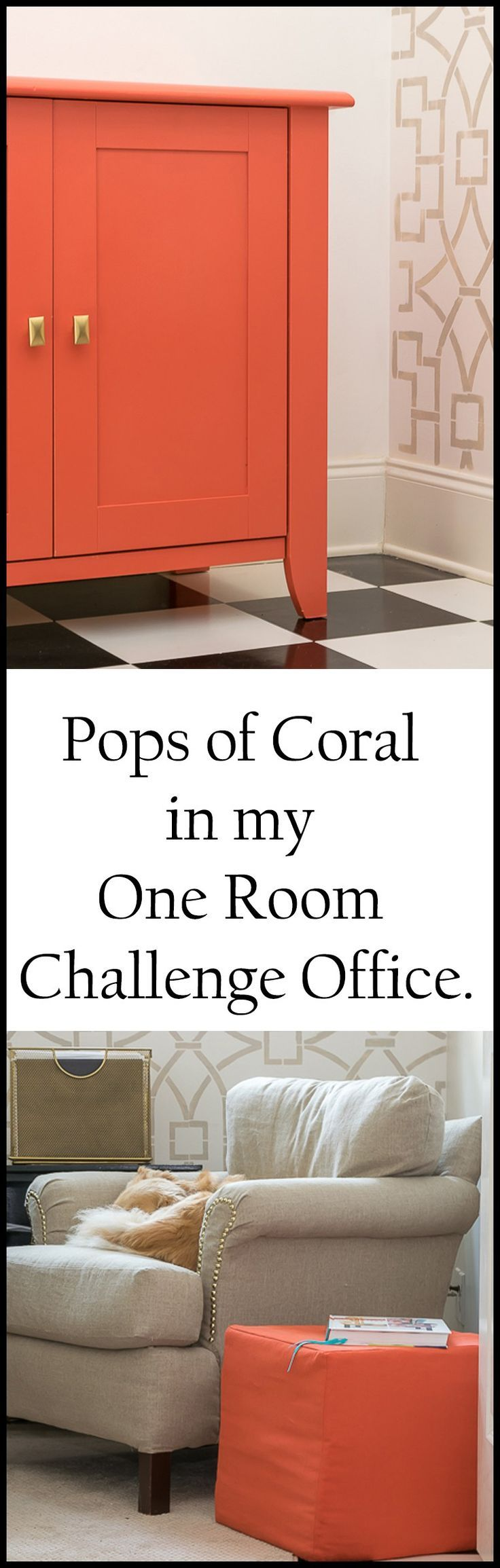 I've added a coral chest and ottoman to my office. See the progress I made during Week 5 of the One Room Challenge to update the room's decor.