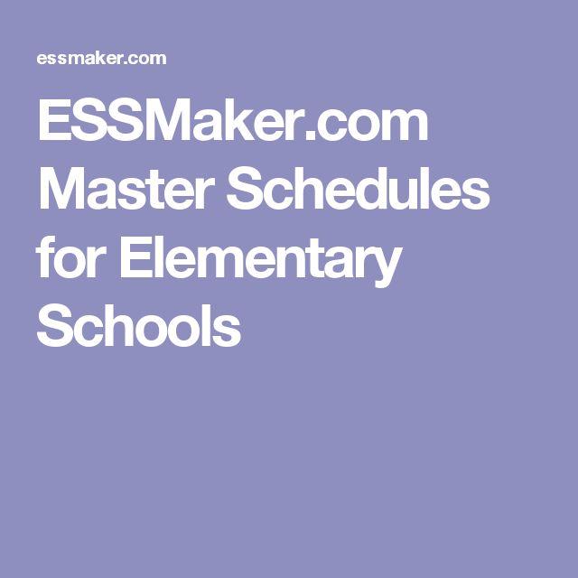 ESSMaker.com Master Schedules for Elementary Schools
