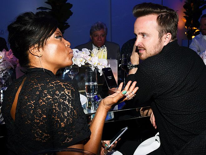 Star Tracks: Monday, April 6, 2015   THE TOUGH QUESTIONS   Empire actress Taraji P. Henson engages Aaron Paul in deep conversation at the Thursday launch of the Samsung Galaxy S6 phone in L.A.