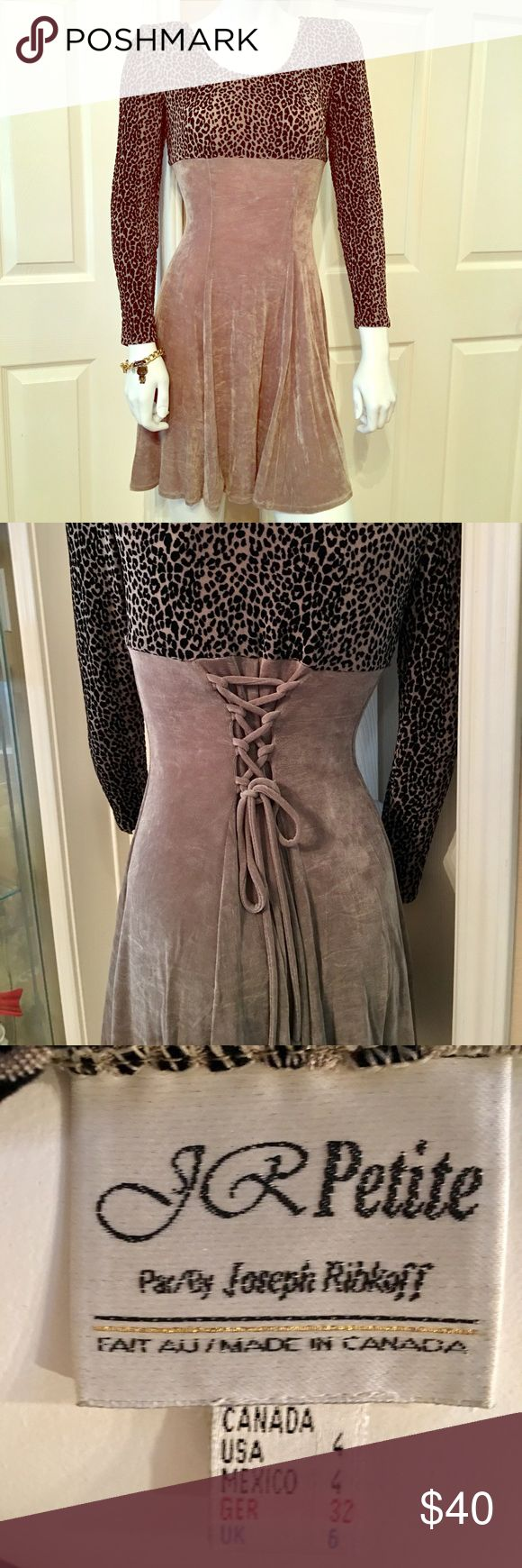 J.R. Petite Dress This unique, velvety spandex dress will really accentuate your curves!  Size 4, w/ neat lace-up feature in back.  Shoulder pads- but could take out!  Beautiful leopard fabric!  Worn once. JR Petite Dresses Long Sleeve