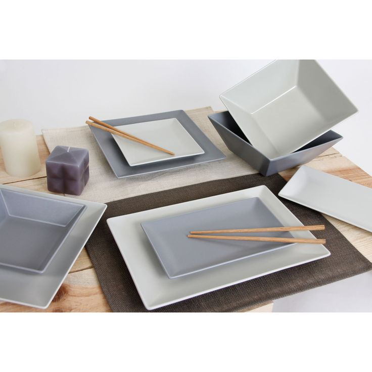 Assiette Lot de 6 Assiettes rectangulaires 30 x 20 cm Argile Gris Lot de 6 Assiettes rectangulaires 30 x 20 cm Argile Gris