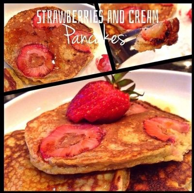 Ripped Recipes - Strawberries and Cream Swirl Pancakes.  - Dessert for breakfast in pancake form!