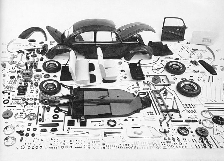 Exploded view VW Volkswagen Beetle. 1960s.    Photographer unknown.