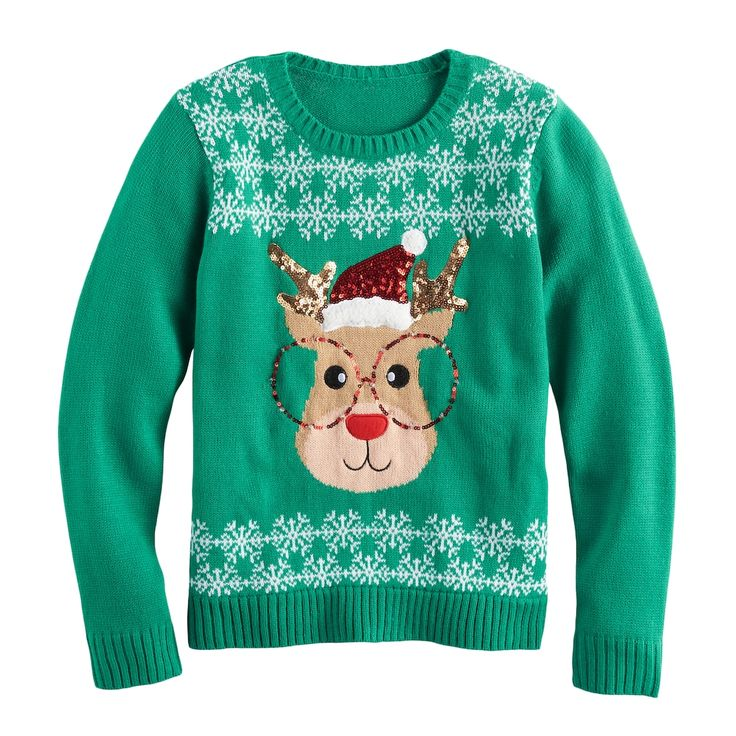 Girls 7-16 & Plus Size It's Our Time Embroidered Sequin Light-Up Ugly Christmas Sweater, Green Reindeer