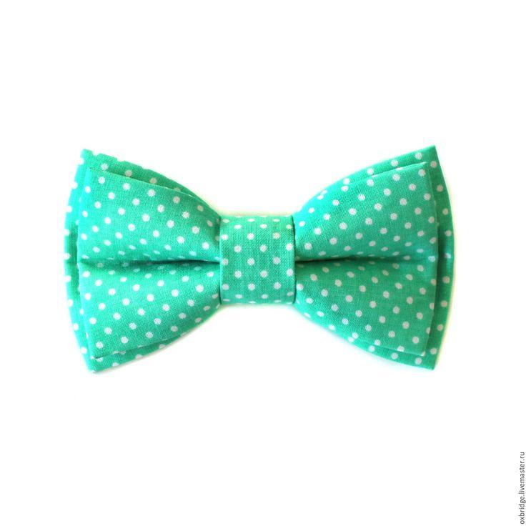 Купить Галстук бабочка мятного цвета в горошек / Бабочка галстук мятный - галстук бабочка