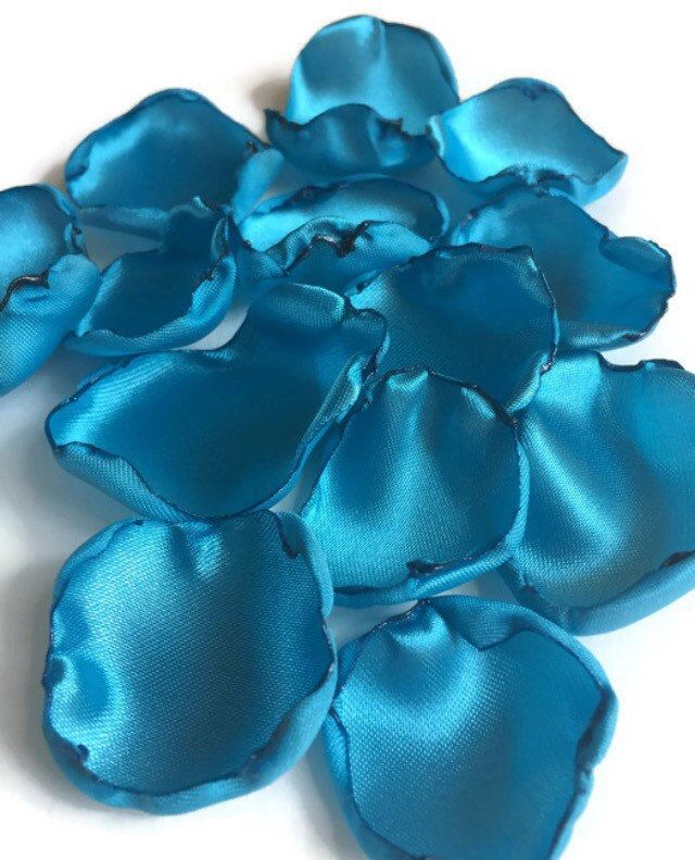 Turquoise Flower Petals Ocean Blue Rose Table Decor
