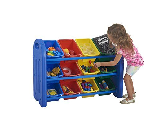 ECR4Kids 3 Tier Storage Organizer, Blue With 12 Assorted Color Bins
