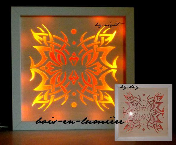 tableau lumineux chantourn en contreplaqu de 3mm mont sur cadre ikea 23x23cm clairage par. Black Bedroom Furniture Sets. Home Design Ideas