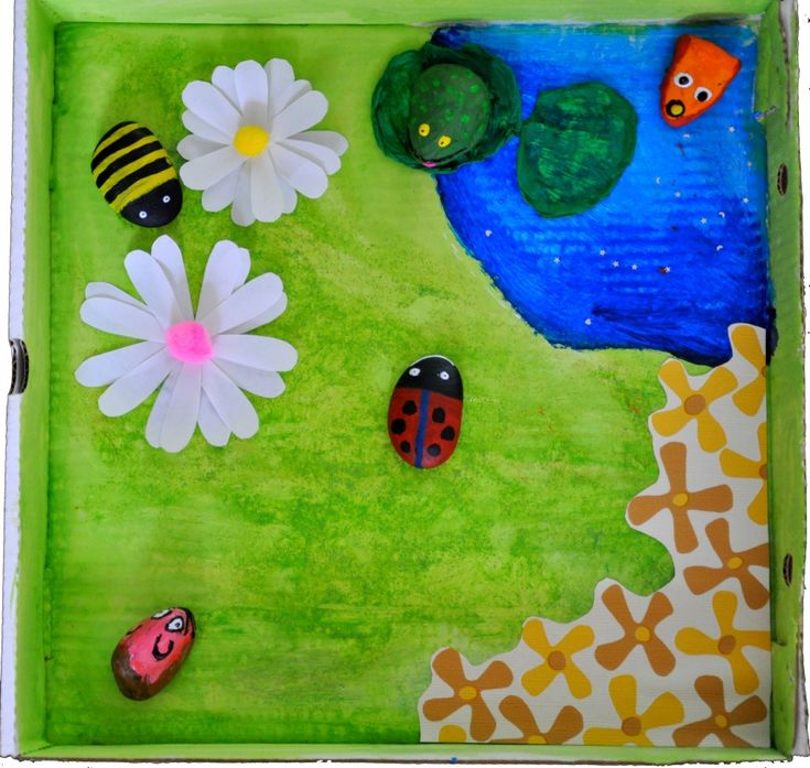 Painted pebbles, an old pizza box, some silk flowers and pom poms, and a creative kid can make this adorable garden scene!  Great for a spring theme!