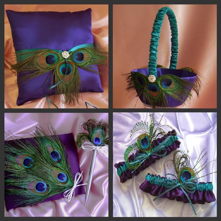 Peacock Wedding Pillow, Flower Girl Basket, Ring Pillow, Guest Book, Bridal Garterst, Purple and Teal 6pc set. $165.00, via Etsy.