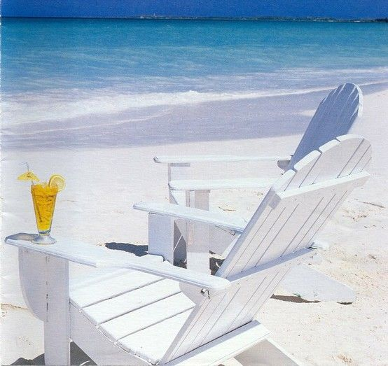 Again, Adirondack chairs on the beach with a cocktail on the arm=PARADISE!