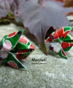 Green rabbits studs, origami.