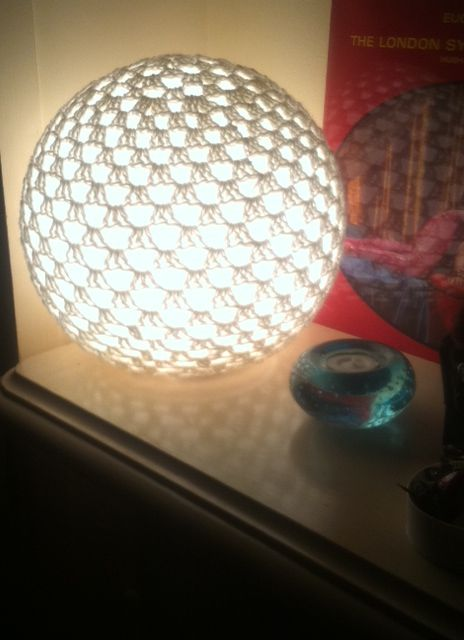 Picture of the crocheted granny sphere lamp by Sue Halliday of Crafting Health