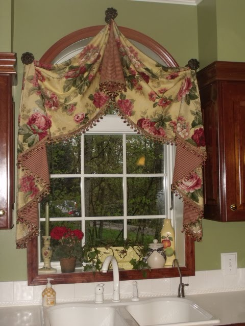 Kitchen window over sink this is the fabric i already for Arched kitchen window treatment ideas