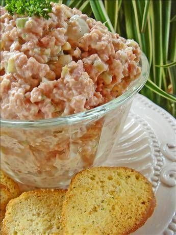 Cold Ham Salad Sandwich Spread (Or Appetizer)  3 C minced cooked ham, 3 T finely minced celery, 1 green onion-finely chopped,  2 T sweet pickle relish,  1 -2 T chopped pimiento,  1 T prepared yellow mustard,  1/2-3/4 C mayonnaise, 1/2 t  pepper