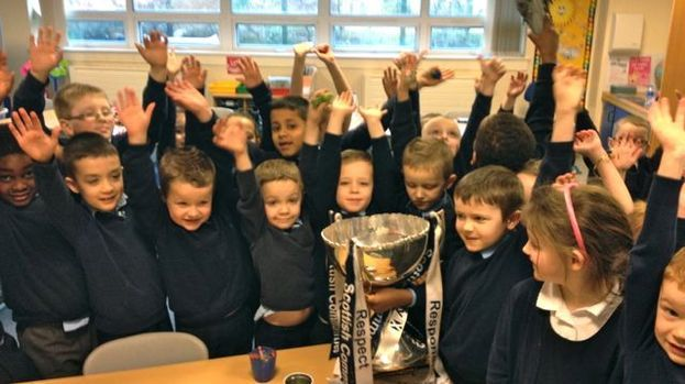 Wave of Support football trophy tour hits Lourdes Primary | Magazine | Glasgow | STV