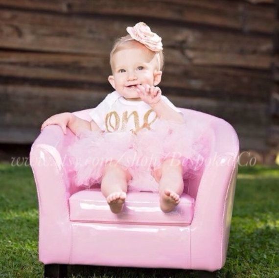Baby Girl 1st Birthday Outfit/Pink and Gold Birthday by BespokedCo