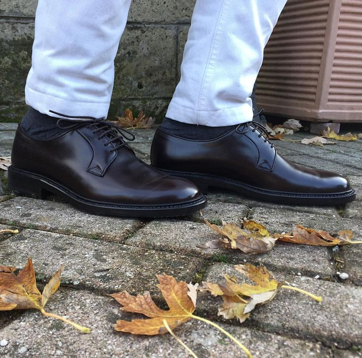 A Must Have In Your Shoes Closet. Amazing Dark Brown Derby Shoes In  Polished Binder Leather From